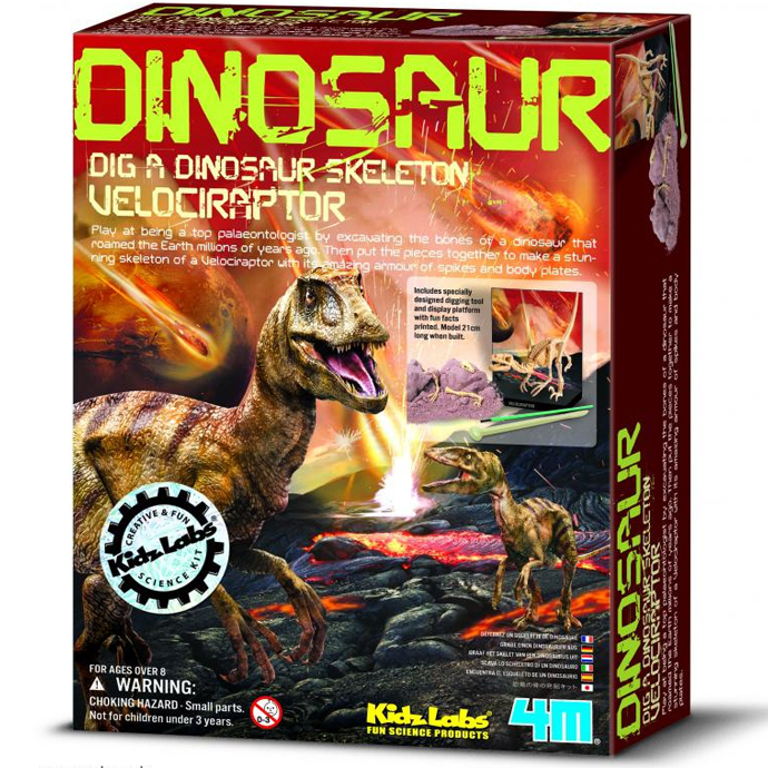 4M創意DIY Dig a Dino Skeleton Velociraptor挖掘迅猛龍