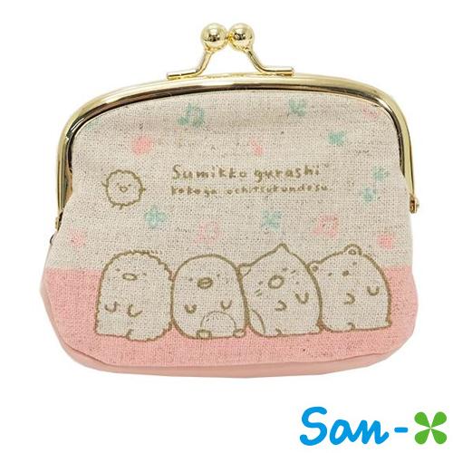 日本進口SAN-X正版角落生物角落公仔麻布珠扣包零錢包收納包卡片包428003