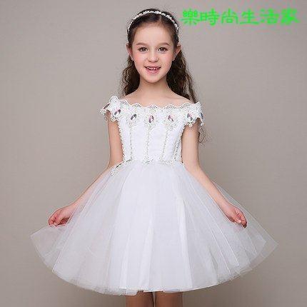 2017韓版兒童禮服女童公主裙蓬蓬裙女童婚纱裙白色公主裙禮服