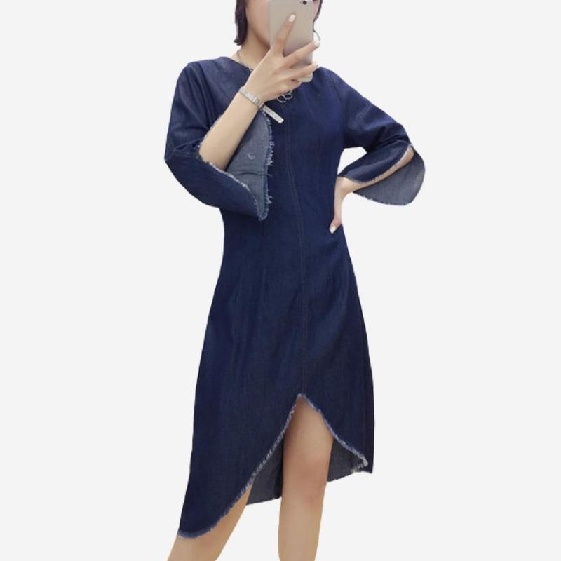 薄牛仔鬚邊開叉五分袖不規則洋裝 (送腰帶) 11950088