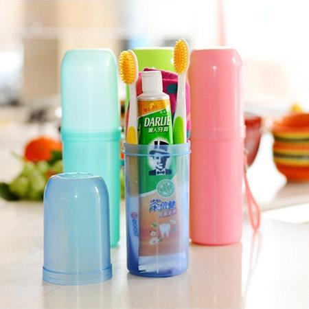 糖果色牙膏牙刷收納盒收納盒收納筒置物盒居家收納外出旅行收納SA0921 Loxin
