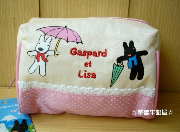 草莓牛奶屋日本進口Gaspard et Lisa黑白狗粉紅蕾絲收納包化妝包