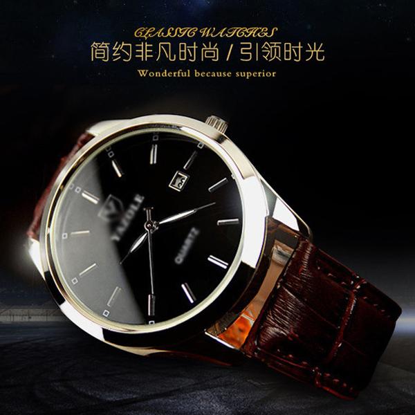 [新款] 韓版 時尚 簡約 日曆 防水 藍光 石英錶 男士 手錶 商務 菁英錶