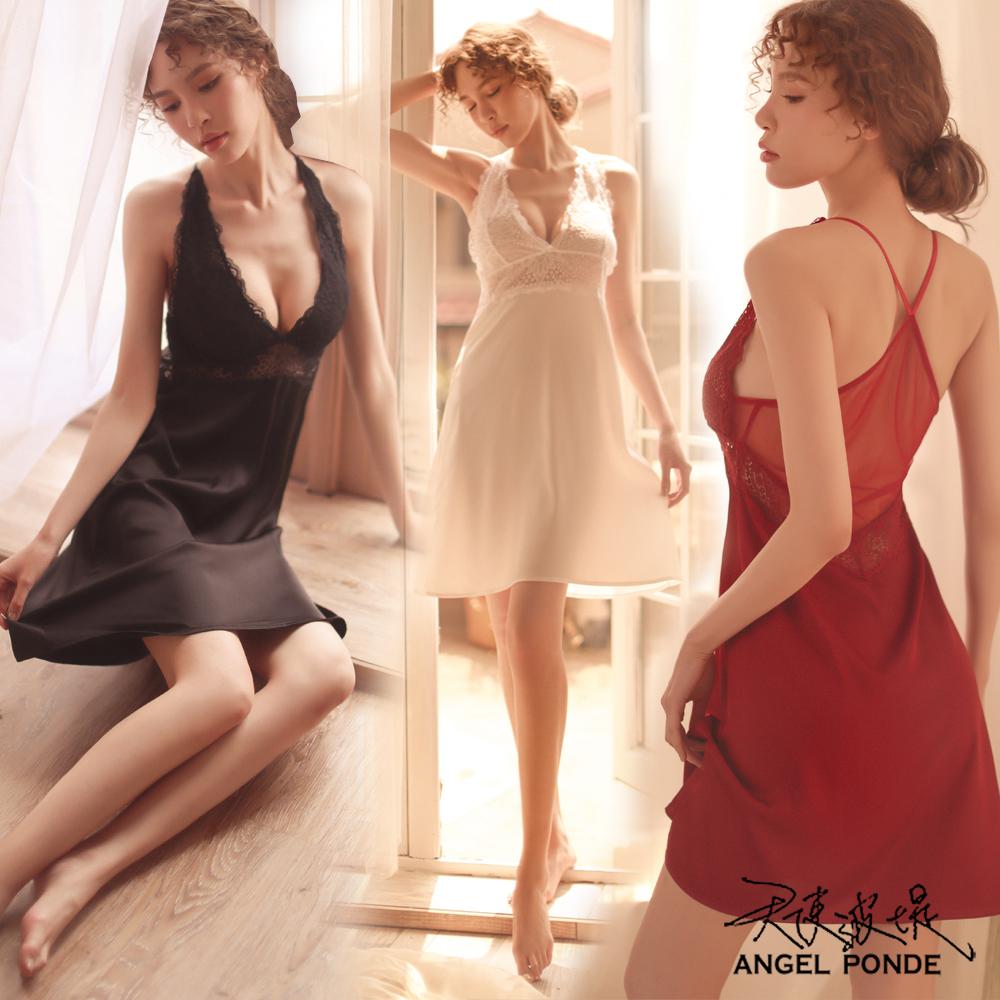 天使波堤【LD0491】歐美爆乳蕾絲情趣睡裙二件式緞面居家睡衣連身馬甲罩衫-紅色(共四色)