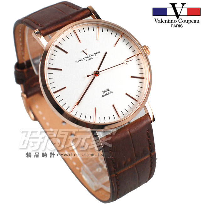 valentino coupeau 范倫鐵諾 簡約城市風格 皮革錶帶 男錶/中性錶/女錶/都適合 咖啡色x玫瑰金 V61576RG咖