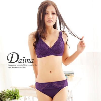 """成套內衣(C)花絮薄襯集中、托高蕾絲""""內衣 內褲""""_紫色【Daima黛瑪】"""