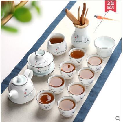 美閣喝茶功夫茶具套裝家用陶瓷整套白瓷蓋碗茶壺品茗茶杯茶道零配