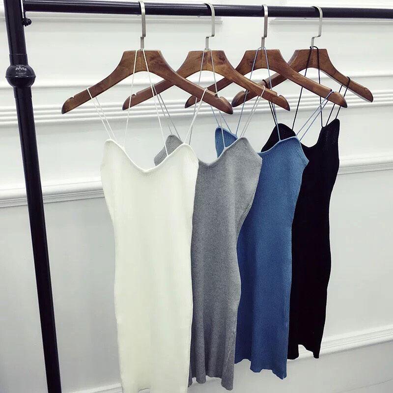 背心洋裝 針織 V領 細肩帶 螺紋 貼身性感爆乳美背 素面百搭無袖長版上衣裙 黑白灰藍 韓 NXS
