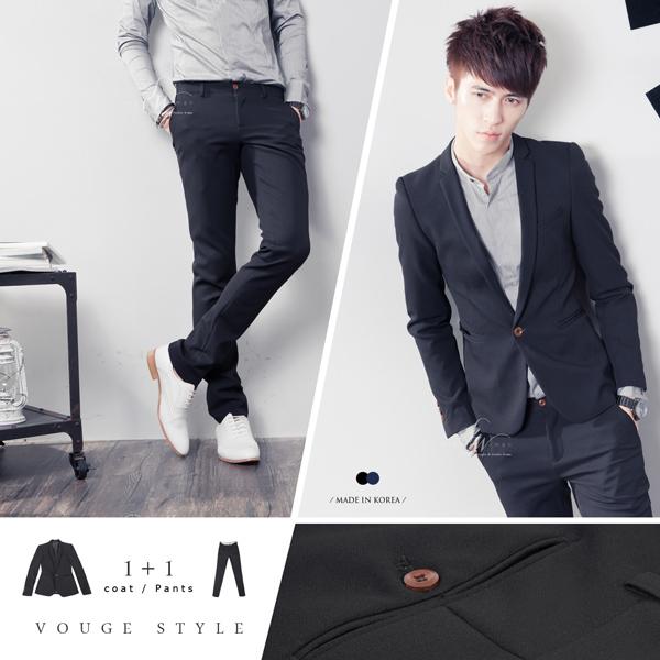 SW免運正韓韓國製修身顯瘦質感硬挺彈性西裝布木扣窄版雅痞素面西裝外套K31146