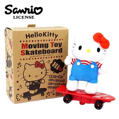 現貨【日本進口三麗鷗正版】 Hello Kitty 音樂滑板娃娃 絨毛玩具 音樂玩偶 凱蒂貓 - 004405
