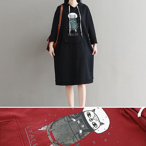長袖洋裝 卡通 棉 長版T裙 連帽 長袖 洋裝 連身裙【BS8141】 BOBI  10/05