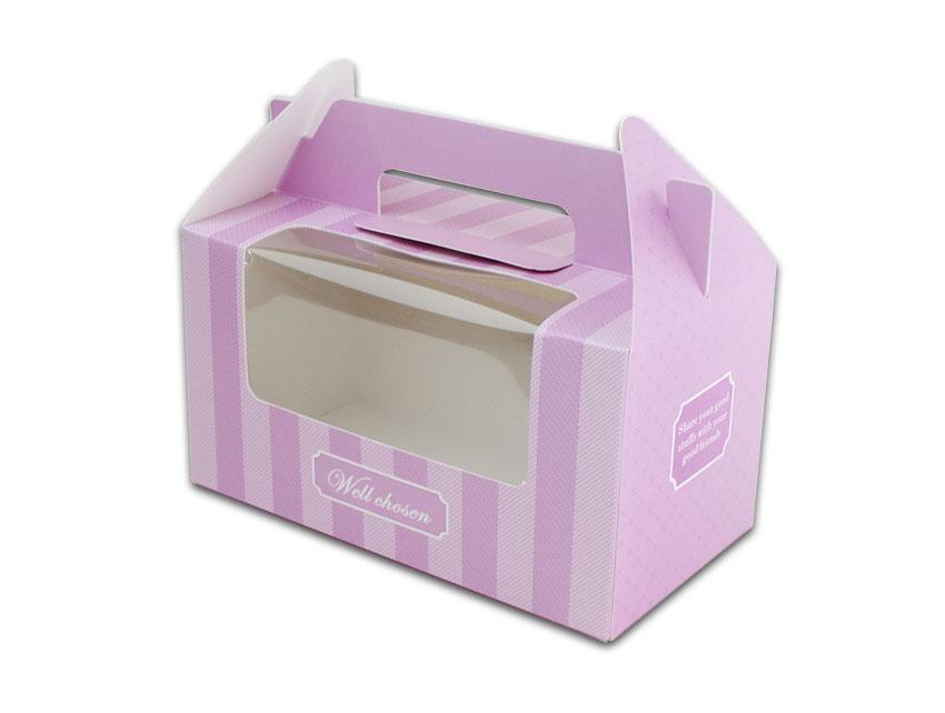 紫色2格手提盒杯子蛋糕盒CH02A1