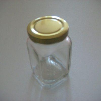金蓋瓶四方型-200ml儲物罐玻璃瓶密封罐收納罐糖果罐保鮮罐