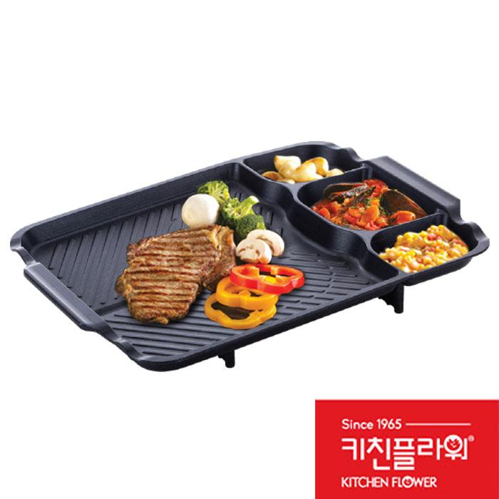 韓國Kitchen Flower新款多功能方型大烤盤44 33cm長型烤盤韓國滴油烤盤不沾塗層烤盤
