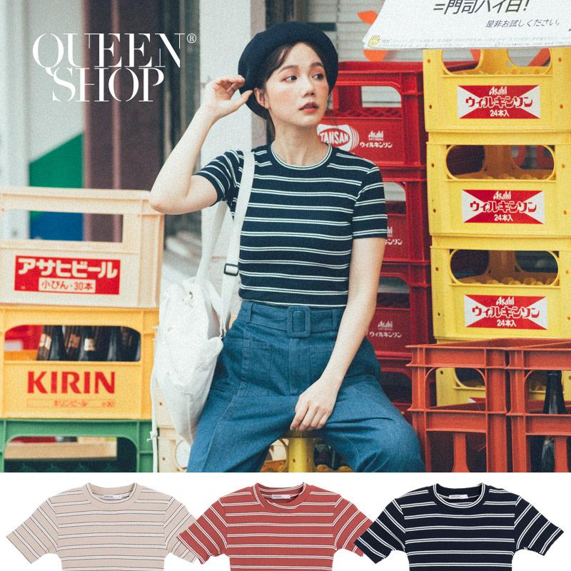 Queen Shop【01038066】撞色坑條圓領T 三色售*現+預*
