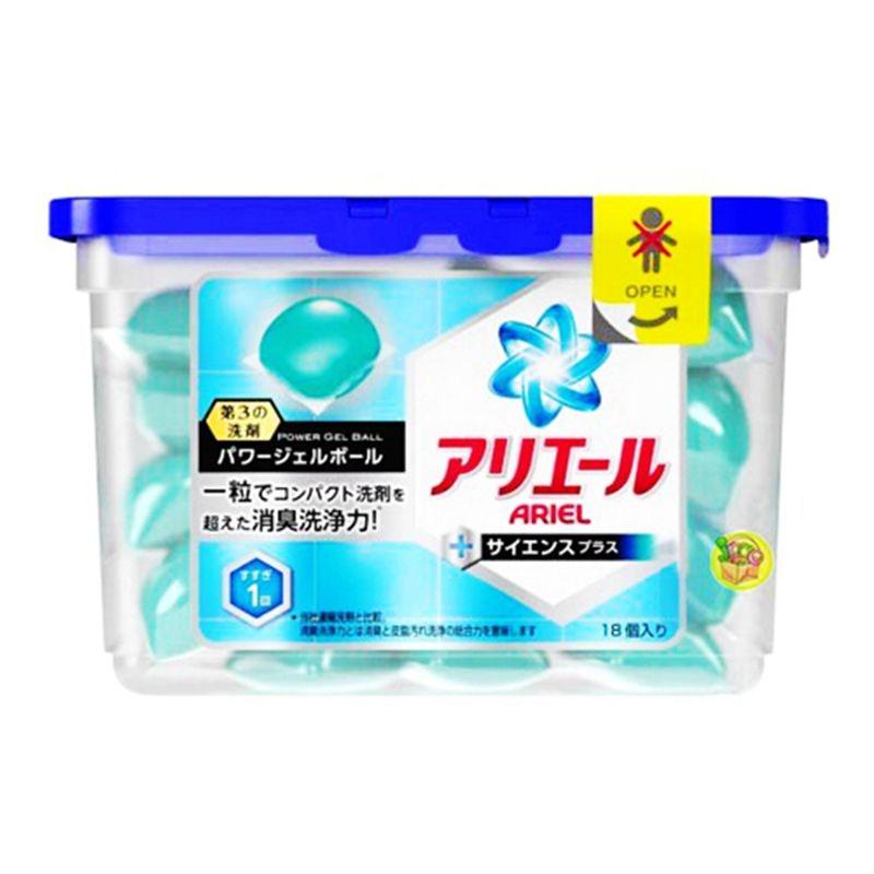 日本寶僑 P&G 3D洗衣凝膠球 ( ARIEL藍色 淨白除臭)  雙倍洗淨 (437g/18顆入)【聚美小舖】