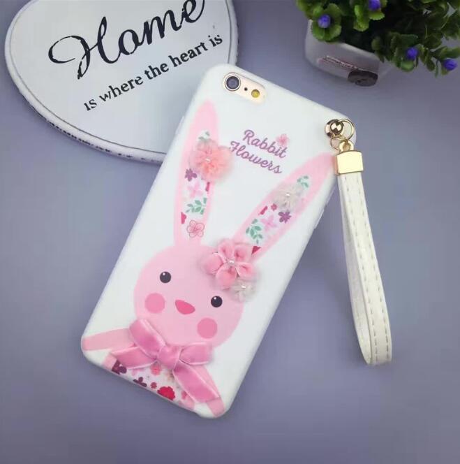 蘋果手機殼iPhone6 plus i6s i6 6s plus卡通立體字母花朵兔子tpu軟殼保護套