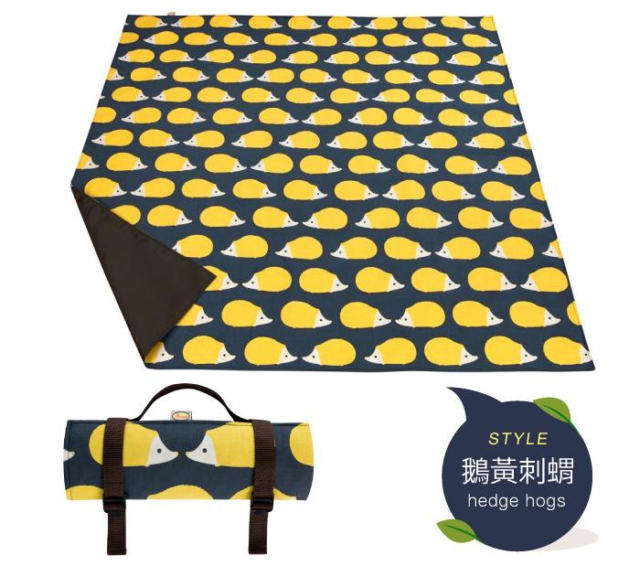 野餐墊 地墊 英國Anorak印花防水野餐墊 鵝黃刺蝟 英國設計製造,精緻車縫 里和 RIHO