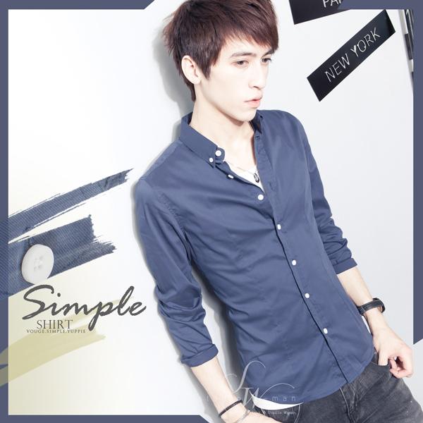 SW韓雅痞修身質感彈性萊卡襯衫布立領黑白扣窄版素面彈性長袖襯衫英倫K61249