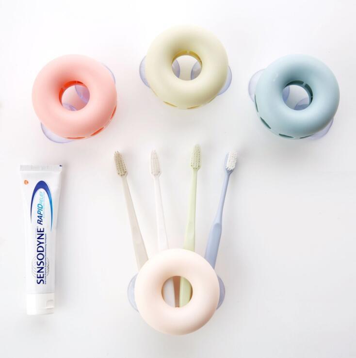 【衛浴清潔】仿真甜甜圈吸盤式牙刷架  浴室 壁掛 創意 情侶 吸盤 牙刷筒 放牙刷 架子