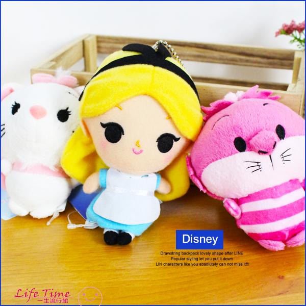 《最後6個》迪士尼 愛麗絲 妙妙貓 瑪莉貓 正版 Q版 絨毛娃娃 鑰匙圈 玩具 10cm D12231