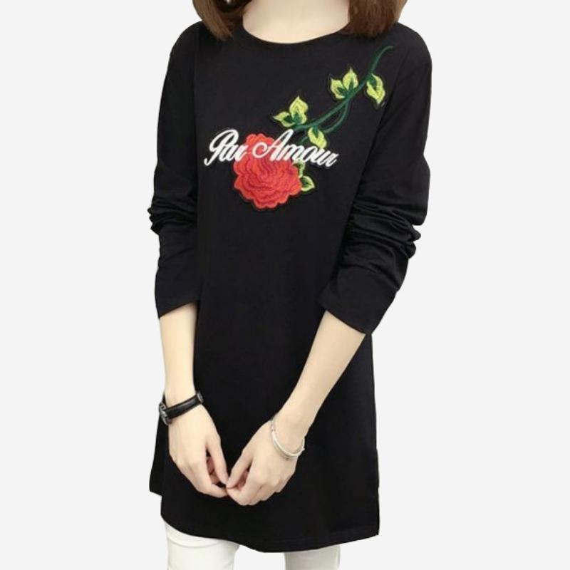玫瑰刺繡寬鬆圓領長袖A版短洋裝 (黑 白)二色售 (M8SF) 11752026