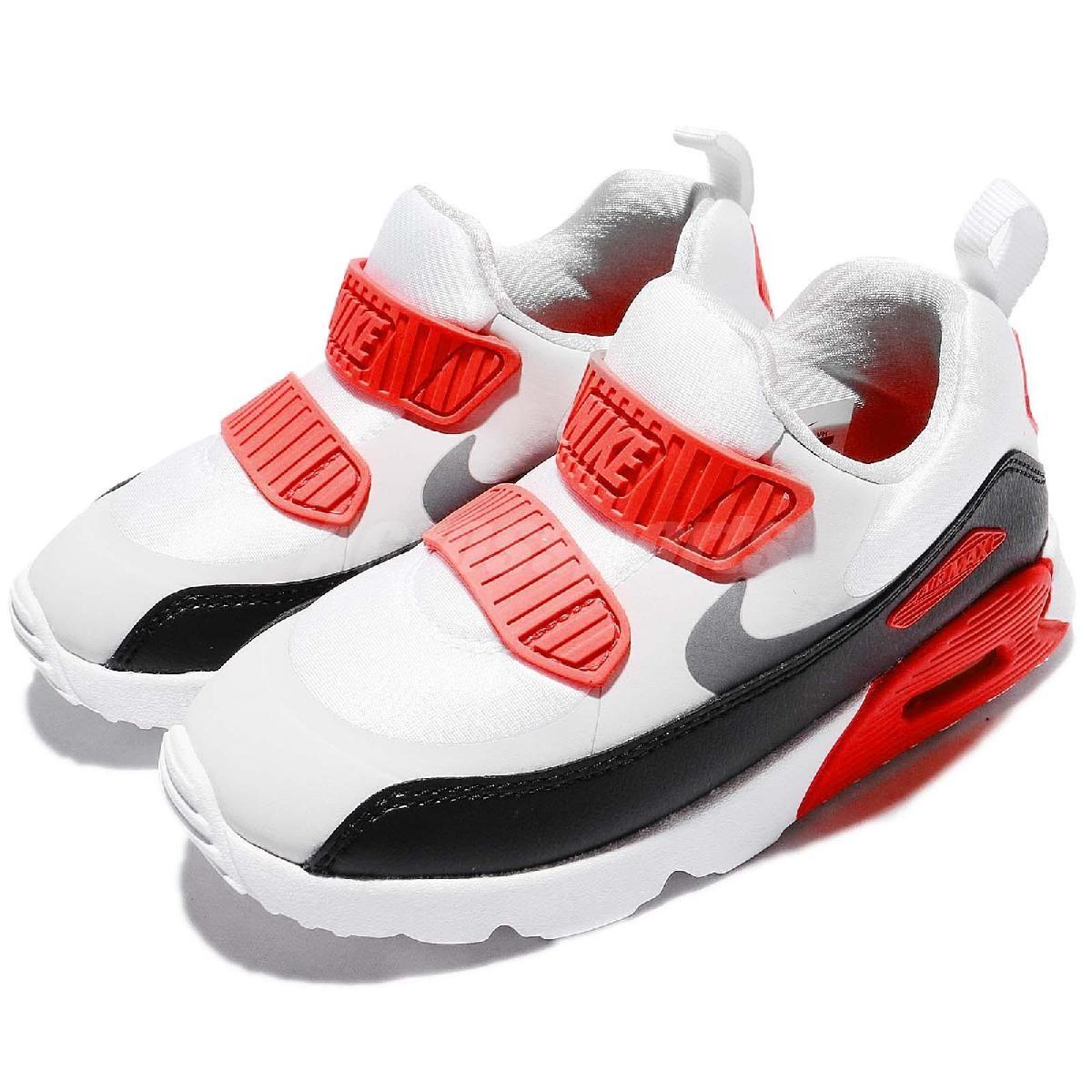 Nike復古慢跑鞋Air Max Tiny 90 TD灰黑白免綁鞋帶氣墊休閒鞋童鞋小童鞋PUMP306 881924-002