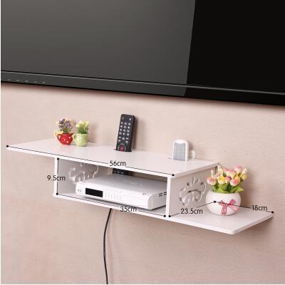 創意牆上電視機頂盒架免打孔置物架客廳路由器收納盒壁掛臥室隔板加長雙層