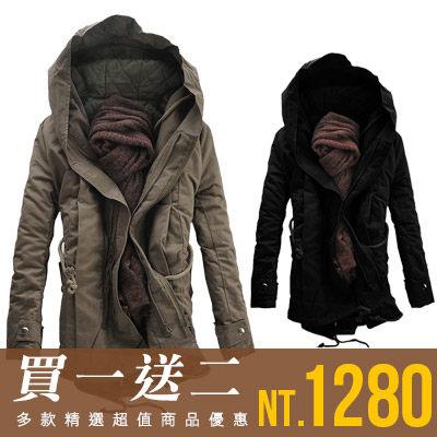 軍裝外套《Free Shop》【QTJMY07】韓版開叉後擺抽繩禦寒保暖連帽長版大衣軍裝外套‧二色 有大尺碼
