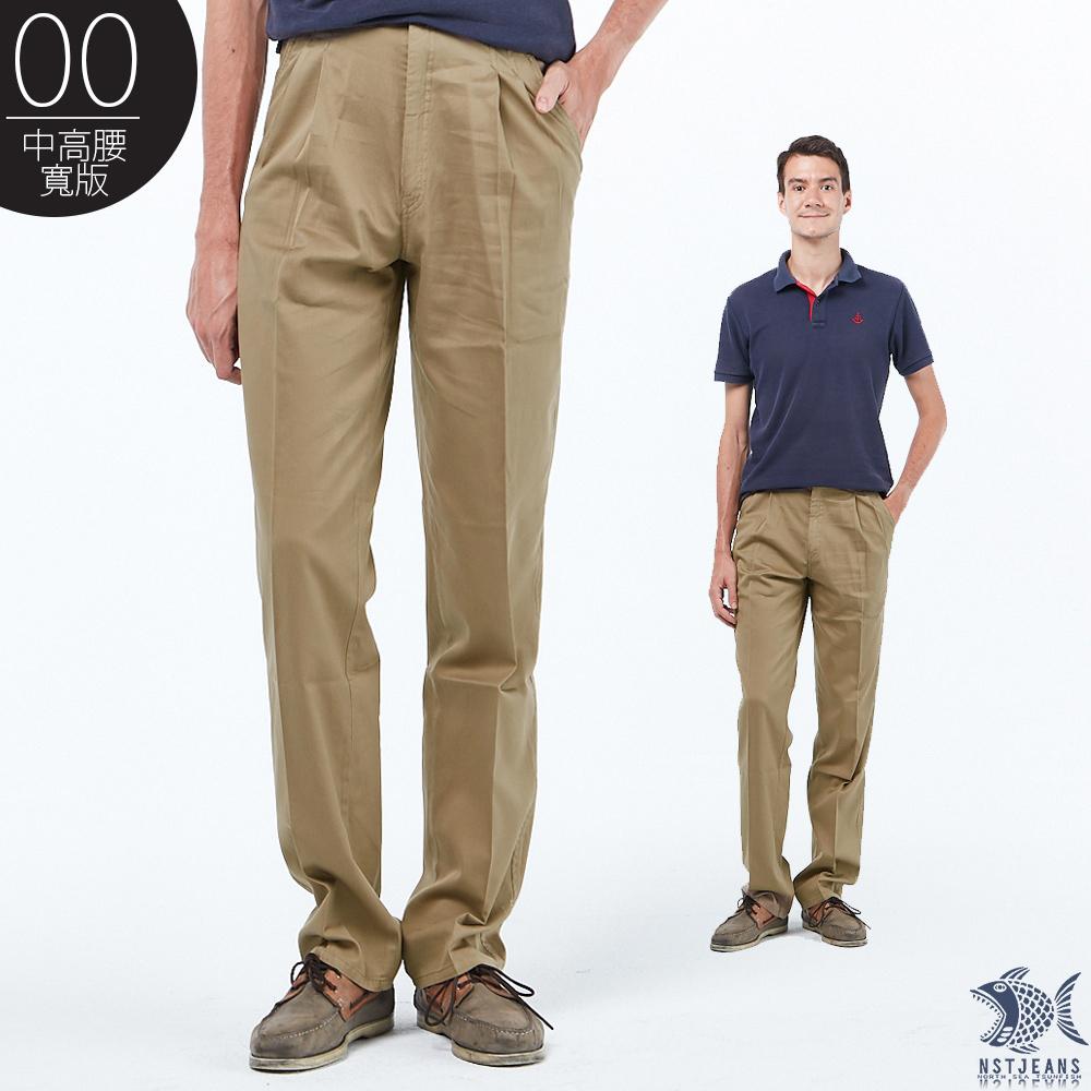 【NST Jeans】我的夏季本命色!卡其 純棉打摺休閒褲(中高腰寬版) 007(67351) 台製 紳士 男 夏季薄款