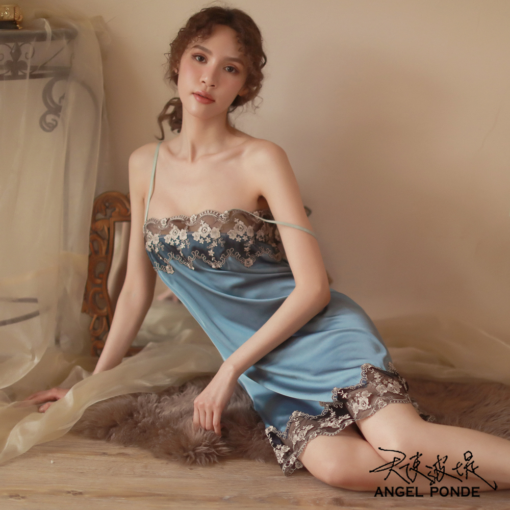 天使波堤【LD0497】平口吊帶蕾絲居家睡衣罩衫馬甲大尺碼連身緞面二件式-白色 (共七色)