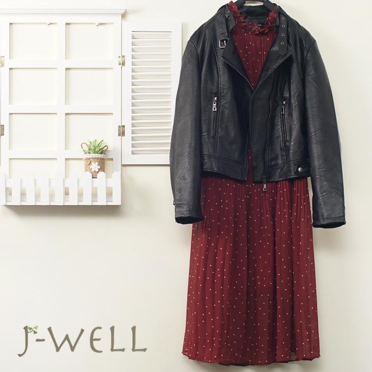 JWELL 率性修身皮衣甜美點點壓褶洋二件組(組合B026 9J1168黑+9J1003紅)