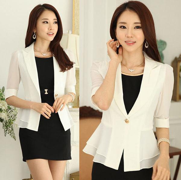 OL小西裝外套女艾美天后中袖白色西裝外套職業女裝商務面試裝修身顯瘦工作服