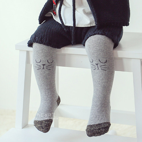 柔軟超彈力簡約棉質小貓包腳褲襪 童襪 長襪 長褲 止滑襪 防滑襪 內搭褲