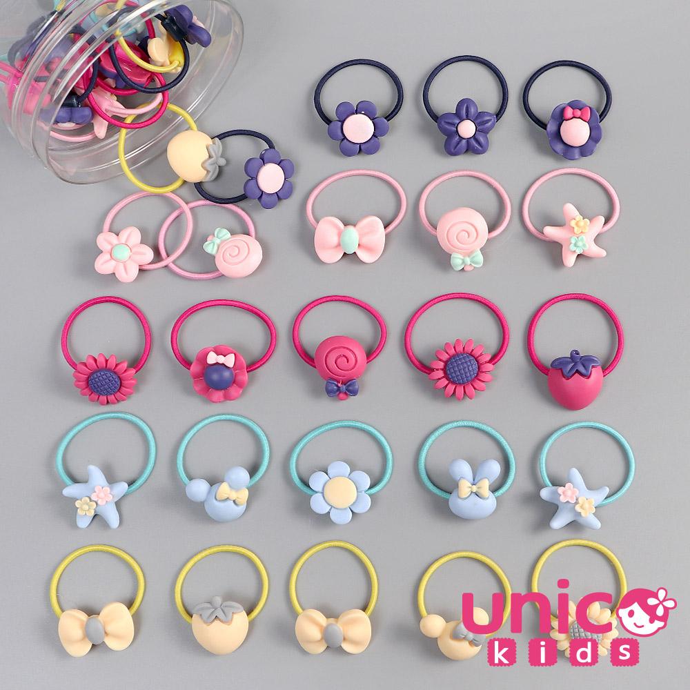 UNICO 兒童 少髮量甜到心坎裡40條多款樣式髮圈/髮繩罐裝-多色款
