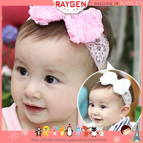 韓版玫瑰花瓣造型蕾絲珍珠蝴蝶結寶寶髮帶(二色)