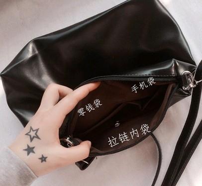 EASON SHOP GU1940黑色小方包多內袋斜背包側背包手拿包化妝包皮包斜挎小包包斜跨包方形單肩包女包