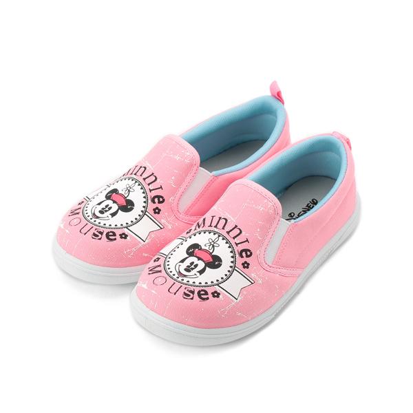 DISNEY 米妮經典套式帆布鞋 粉 中大童鞋 鞋全家福