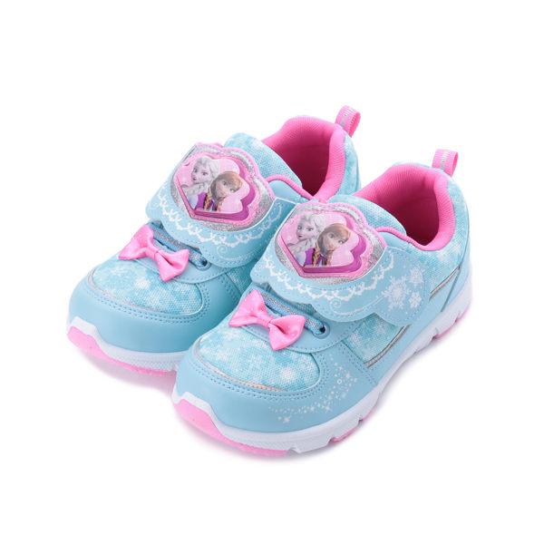 冰雪奇緣 花形電燈運動鞋 水藍 FOKX94456 中大童鞋 鞋全家福