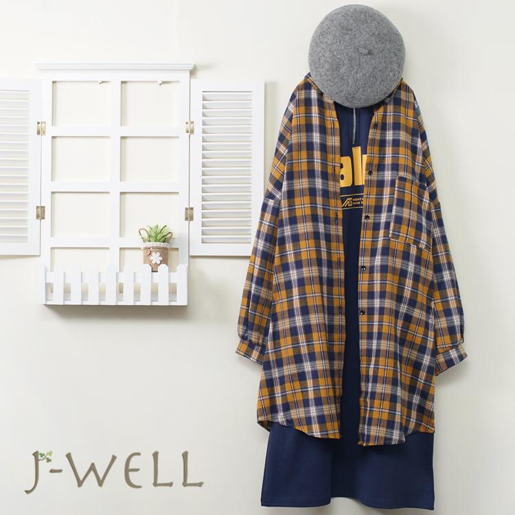 J-WELL 字母小立領棉質長洋裝T恤法蘭絨格紋長版上衣二件組(組合A630 9J1018黃+9J1082黑)