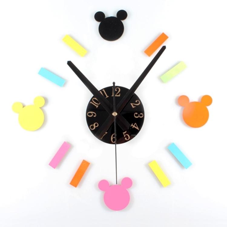 迪士尼壁貼時鐘DIY米奇掛鐘經典米老鼠造型靜音趣味組合-米鹿家飾
