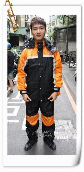 林森●ARAI多功能套裝雨衣,兩件式,K8,含簡易式鞋套,黑橘
