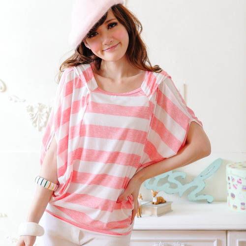 【CERES席瑞絲】連帽飛鼠袖率性寬領上衣-粉紅色(Q0951-P)