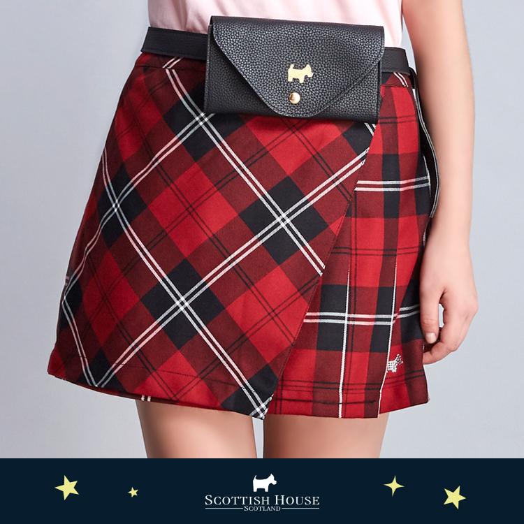 【紅黑格】側邊百褶腰包小A裙 Scottish House【AJ2104】
