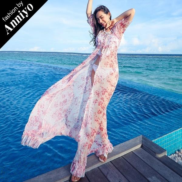 ANNIYO安妞波西米亞顯瘦海邊度假短袖中袖五分袖大開衩防曬雪紡皺罩衫開衫外套粉色碎花