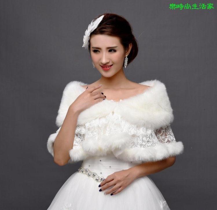 2017新娘结婚婚纱毛披肩伴娘蕾絲花朵薄款保暖披肩旗袍披風