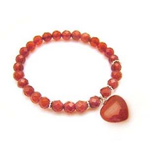 紅瑪瑙心與角度珠純銀彈性手環
