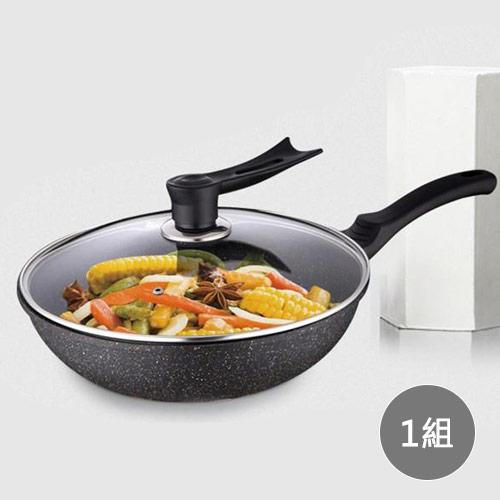 韓式麥飯石無煙不沾平底炒鍋30cm(附玻璃) x1組
