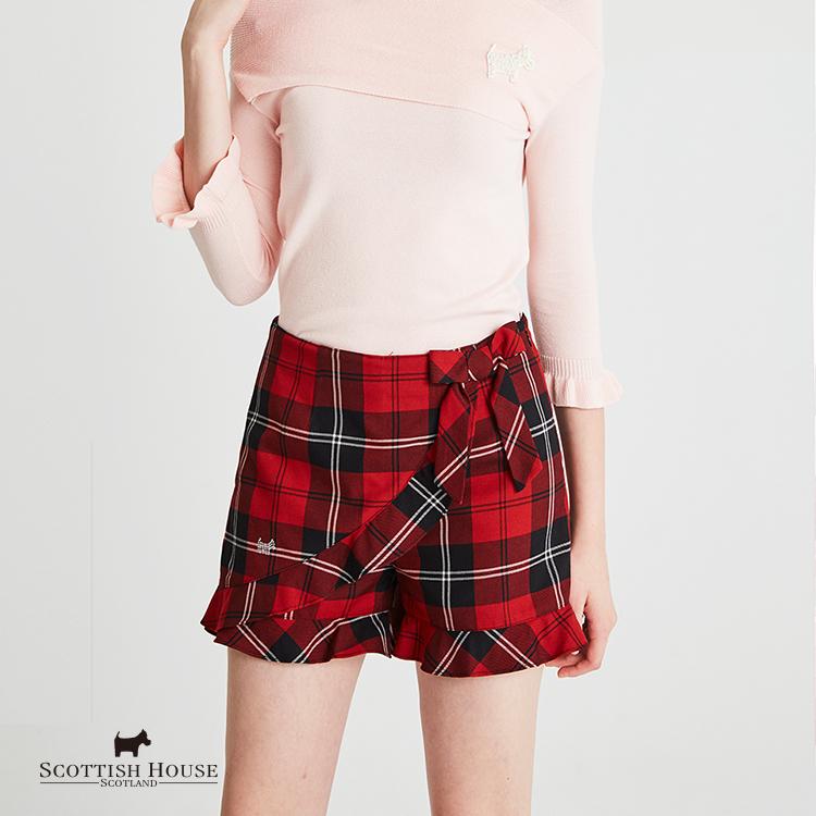 【紅黑格】荷葉裙片造型格紋短褲 Scottish House【AH2212】