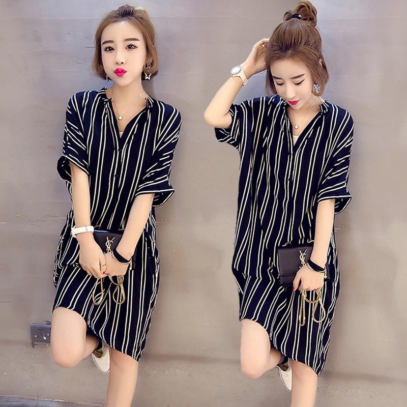 ZUCAS~(YU-1121)韓版加寬加大碼女裝中長款長版數條紋短袖襯衫連身裙洋裝